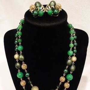 Vintage Richelieu Green & Gold Necklace & Earrings